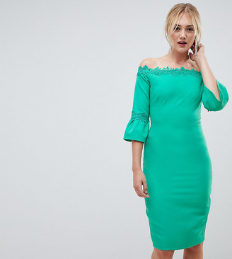 Paper Dolls Tall Off Shoulder Pencil Dress With Crochet Trim-Green