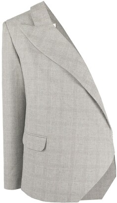 Loulou One Shoulder Checked Blazer