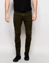 Asos Super Skinny Jeans With Biker Details In Dark Khaki