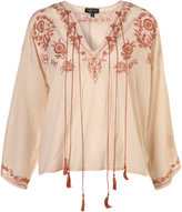 Topshop Nude Gypsy Embroidered Tassel Blouse