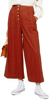 Topshop Linen-Blend Wide-Leg Crop Trousers