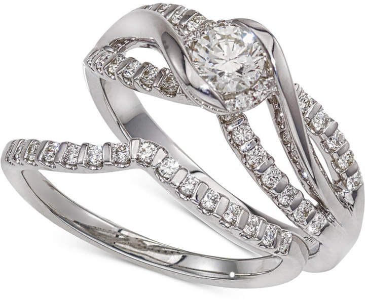 Macy's Diamond Twist Interlocking Bridal Set (1/2 ct. t.w.) in 14k White Gold