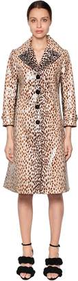 Marco De Vincenzo LEOPARD PRINT COATED COTTON TRENCH COAT