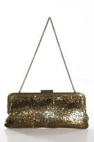 BCBGMAXAZRIA Gold Satin Sequin Clasp Closure 2 Pocket Clutch Handbag