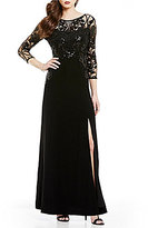 Tahari ASL Jeweled Neck 3/4 Sleeve Sequin Lace Bodice A-Line Gown