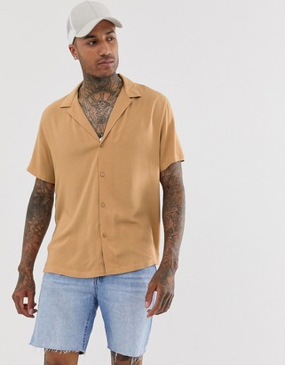 Asos Design DESIGN oversized viscose shirt with deep revere collar in tan