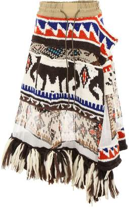 Sacai Fringed Printed Skirt