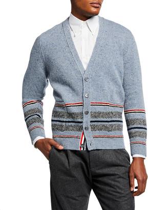 Thom Browne Men's Birdseye Jacquard Cricket-Stripe Cardigan Sweater