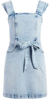 Alice + Olivia Gorgeous Belted Denim Apron Dress