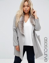 Asos Coat with Asymmetric Detachable Fur Collar