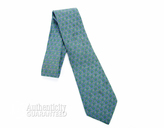 Hermes Green and Blue Chain Silk Neck Tie