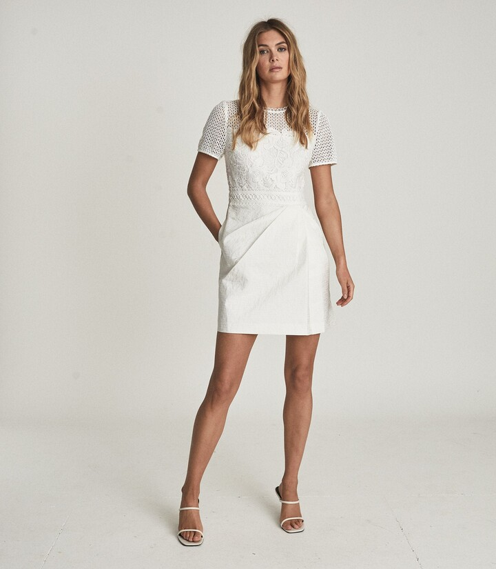 Thumbnail for your product : Reiss Freyda - Lace Detailed Mini Dress in White