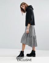 Reclaimed Vintage Inspired Drop Hem Skirt In Check