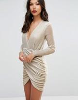 Club L Mini Dress with Sheer Upper and Asymmetric Skirt