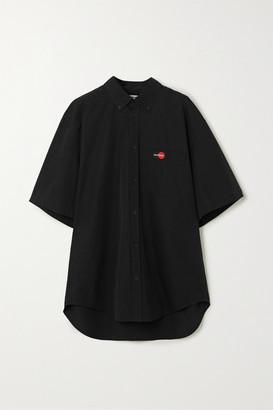 Balenciaga Embroidered Cotton Shirt - Black