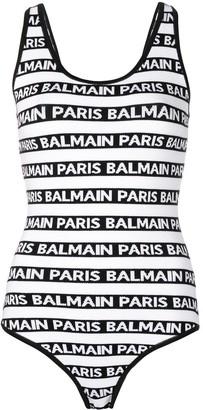 Balmain Logo Striped One-Piece