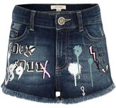 River Island Girls blue graffiti print denim shorts