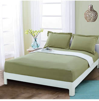 Elegant Comfort Silky Soft Single Fitted Sheet Queen Sage Bedding