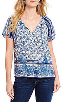 Lucky Brand Tassel Tie-Neck Floral Border Print Peasant Top