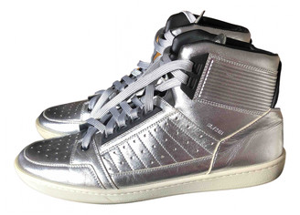 Saint Laurent SL24 Silver Leather Trainers