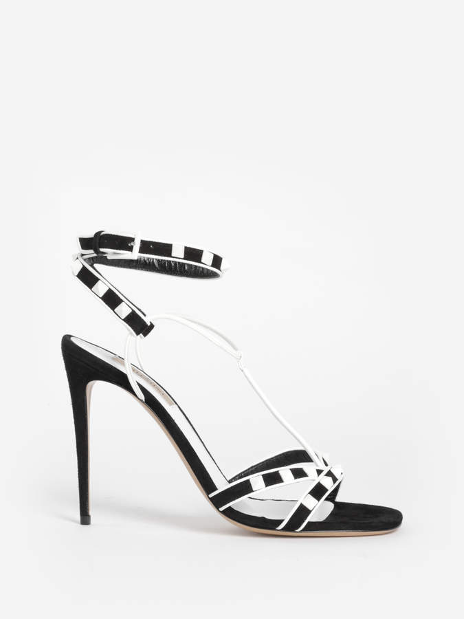 Valentino WOMEN'S BLACK AND WHITE ROCKSTUD SANDALS