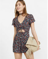 Express floral print ruched cut out front romper
