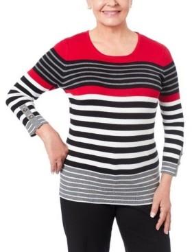 Joseph A Women's Petite Striped Grommet Cuff Sweater