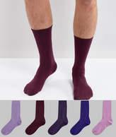 Asos Socks In Tonal Purple 5 Pack
