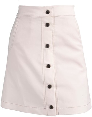 Relax Baby Be Cool Ribbed Corduroy High Waist Button Up Mini Skirt - White