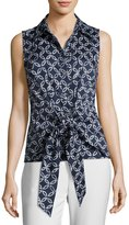 MICHAEL Michael Kors Sleeveless Front-Tie Top, Blue Pattern