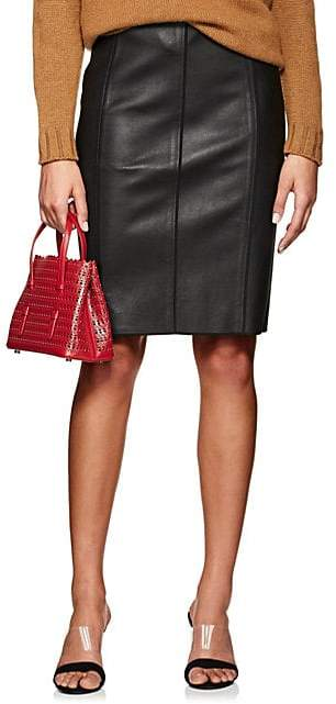 Women`s Seamed Lambskin Pencil Skirt - Black