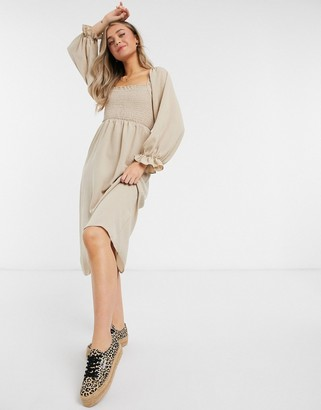 New Look shirred square neck midi dress in camel