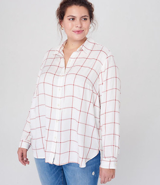 LOFT Plus Shimmer Plaid Hi-Lo Tunic Shirt