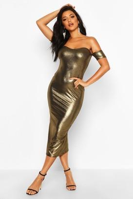 boohoo Metallic Off Shoulder Midi Dress