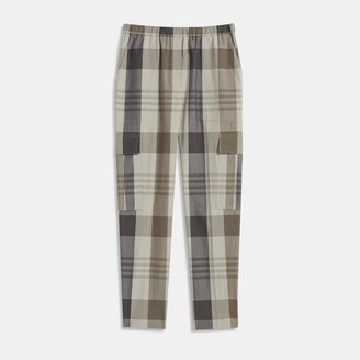 Theory Easy Cargo Pant in Plaid Cotton-Silk