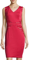 Jax Lace-Inset Sleeveless Sheath Dress, Red