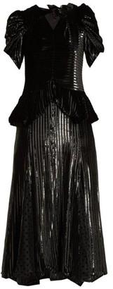 Erdem Dianthia Striped Velvet Midi Dress - Womens - Black