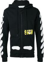 Off-White stripe print hooded jacket - men - Cotton - L