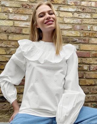 Topshop poplin pintuck blouse in ivory