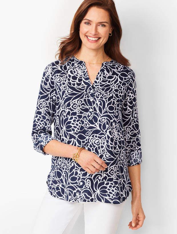 Talbots Linen Camp Shirt - Bi-Color Blooms
