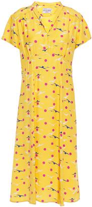HVN Morgan Gathered Printed Silk Crepe De Chine Dress