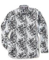 Visconti Big & Tall Flocked Floral Long-Sleeve Woven Shirt