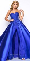 Mac Duggal Strapless Brocade Jumpsuit with Satin Mikado Overskirt