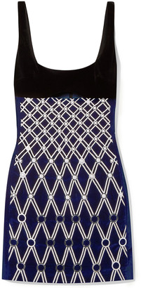 David Koma Embellished Embroidered Cotton-blend Velvet Mini Dress
