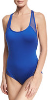 Carmen Marc Valvo Sporty Soul Mesh Zip-Back One-Piece Swimsuit, Cobalt Blue