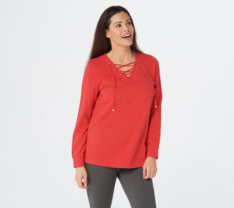 Denim & Co. Active Regular Textured French Terry Lace-Up Tunic