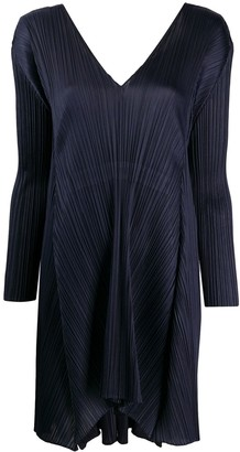 Pleats Please Issey Miyake long-sleeved pleated shift dress