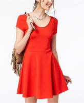 Planet Gold Juniors' Cap-Sleeve Textured Fit & Flare Dress
