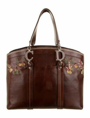 Christian Dior Embroidered Leather Tote Brown