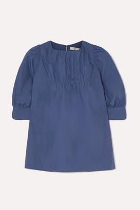 Atlantique Ascoli Ruched Cotton-poplin Blouse - Blue